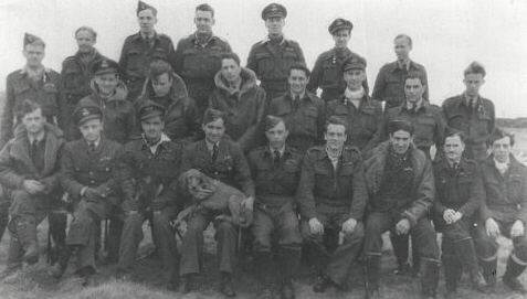 609 Sqdn Apl 1944   JAS 3rd Right front row (6) Jim & Blitz third from left front row