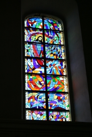 z-13 Stained glass window at Catholic Church in Ilowa, Poland, formerly Halbau, Germany where Center Compound was allowed to sleep on the march