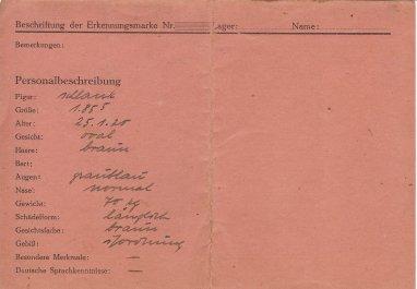 Aubrey M  Bobbitt Stalag Luft III ID card Back
