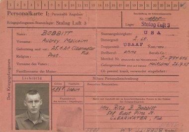 Aubrey M  Bobbitt Stalag Luft III ID Card Front s
